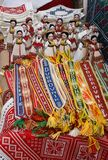 Croatia souvenirs. Embroidery and dolls. stock photo