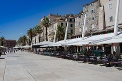 Croatia - Split in Dalmatia. Old town and restaurants - famous UNESCO World Heritage Site Royalty Free Stock Image