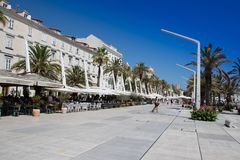 Croatia - Split in Dalmatia. Old town and restaurants - famous UNESCO World Heritage Site Stock Photography