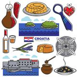 Croatia tourism travel famous symbols and tourist culture landmarks vector icons Royalty Free Stock Images