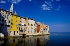 Croatia travel destination. Colorful mediterranean architecture. Summer vacation destination in Croatia Stock Images