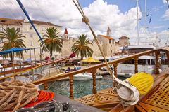 Croatia, Trogir- view of the city from a salboat in the harbor Royalty Free Stock Photo