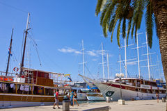 Croatia, Trogir waterfront, moored ships Stock Image
