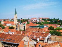 Croatia, Varazhdin. Little old town Varazhdin in Croatia, view on the town from bird's eye, roofs from orange tiles, tower Stock Image