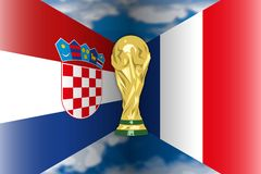 Croatia VS France flags and world cup, vector illustration. Croatia versus France flag finalists, Russia 2018, vector illustration, winners Stock Image