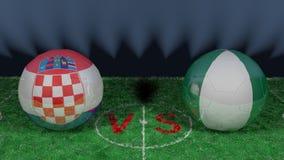 Croatia versus Nigeria. 2018 FIFA World Cup.Original 3D image. June 16th, Croatia vs Nigeria 2018 FIFA World Cup.Original 3D image. Two balloons above a soccer Royalty Free Stock Photography
