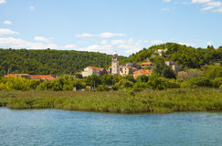 Croatia, view of Skradin village from the banks of Krka river Royalty Free Stock Photography