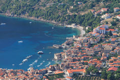 Croatia-vis. Aerial view to the Vis town in Croatia Royalty Free Stock Photos