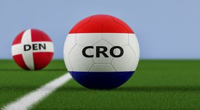 Croatia vs. Denmark Soccer Match - Soccer balls in Croatia and Denmarks national colors on a soccer field. Copy space on the right side - 3D Rendering Stock Images