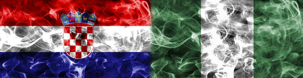 Croatia vs Nigeria smoke flag, group D, Fifa football world cup. 2018, Moscow, Russia Royalty Free Stock Images
