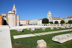 Croatia - Zadar. In Dalmatia. Townscape with Roman ruins and St. Mary church Stock Photography