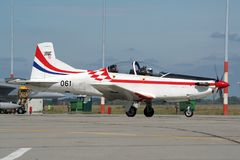 Croatian Air Force and Air Defence Pilatus PC-9 plane Royalty Free Stock Image