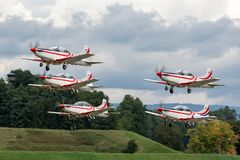 Croatian Air Force Pilatus PC-9M military trainer aircraft of the Wings of Storm formation aerobatic display team royalty free stock image