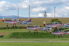 Croatian Air Force Pilatus PC-9M military trainer aircraft of the Wings of Storm formation aerobatic display team royalty free stock photo