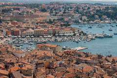Croatian architecture in the old city of Rovini on the mediterranean coast. Panoramic view Stock Photos