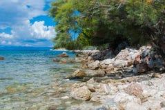 Croatian beach, Makarska Riviera. Photo of Croatian beach, Makarska Riviera, Dalmatia royalty free stock photos