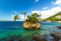 Croatian beach at a sunny day, Brela, Croatia royalty free stock images