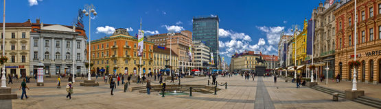 Croatian Capital Zagreb main square. Croatian Capital Zagreb main Ban Jelacic square promenade Stock Image