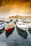 Croatian coast - boats and historic town Royalty Free Stock Images