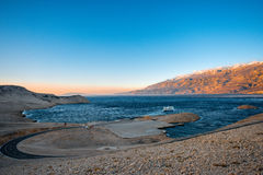 Croatian coast with ferry floating royalty free stock images