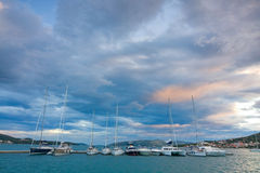 Croatian coast and marina, Seget near Trogir Stock Images