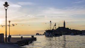Croatian coast, the port of Rovinj. Stock Images