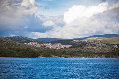 Croatian coastline view, Sibenik area, from the sea Stock Photos