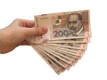 Croatian currency. Hand holding Croatian currency - kuna stock photography