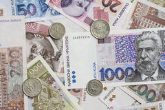 Croatian currency. Background of scattered Croatian currency with coins and banknotes royalty free stock photography