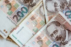Croatian Currency Banknotes. Set of Croatian Kuna. Croatian Currency Banknotes. Set of Croatian Kuna royalty free stock photography