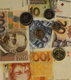 Croatian currency kuna banknotes and coin background Royalty Free Stock Photos