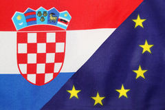 Croatian & Eu flag mix Stock Image