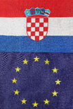 Croatian & Eu flag together Royalty Free Stock Image