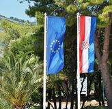 The Croatian and European flags floating side by side Stock Images