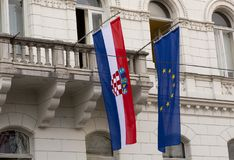 Croatian and European Union flags Stock Image
