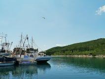 Croatian fishermen trawlers on Ugljan Stock Image