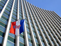 Croatian flag. In front of modern building Stock Images