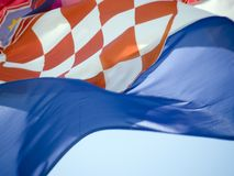 Croatian flag 2. Detail of Croatian flag flaunting royalty free stock images