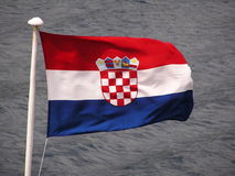 Croatian flag. On a ferry-boat Stock Images