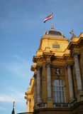 Croatian flag. On the wind on the top of the building in Zagreb Stock Images
