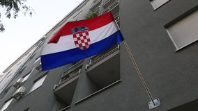 Croatian flag on the building stock video footage