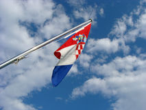 Croatian flag. On clody sky Stock Photography