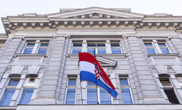 Croatian flag. On the building facade royalty free stock image