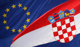 Croatian flag with Eu flag Royalty Free Stock Photo