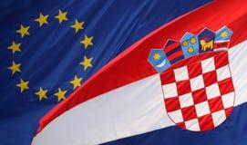 Croatian flag with Eu flag. Zagreb,Croatia - June 12, 2013 : European Union and Croatian flag on Government building, Zagreb,Croatia. Croatia state on 1 of July royalty free stock photo