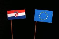 Croatian flag with European Union EU flag  on black. Background Royalty Free Stock Image