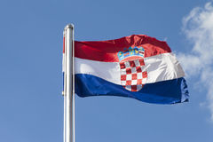 Croatian flag is fluttering in strong bora wind Royalty Free Stock Images