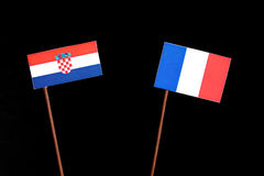 Croatian flag with French flag  on black Royalty Free Stock Photos