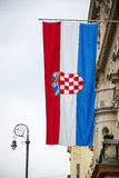 Croatian flag hanging on building Royalty Free Stock Images