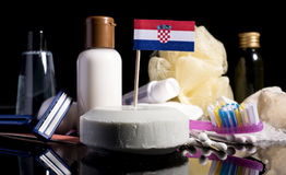 Croatian flag in the soap with all the products for the people Royalty Free Stock Photo